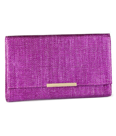 Clutch - predominant colour: purple; occasions: casual, evening, occasion, holiday; type of pattern: standard; style: clutch; length: hand carry; size: small; material: macrame/raffia/straw; pattern: plain; trends: metallics; finish: plain; season: s/s 2013