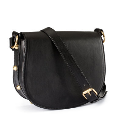 Shoulder Bag - predominant colour: black; occasions: casual; type of pattern: standard; style: saddle; length: across body/long; size: small; material: faux leather; embellishment: studs; pattern: plain; finish: plain; season: s/s 2013