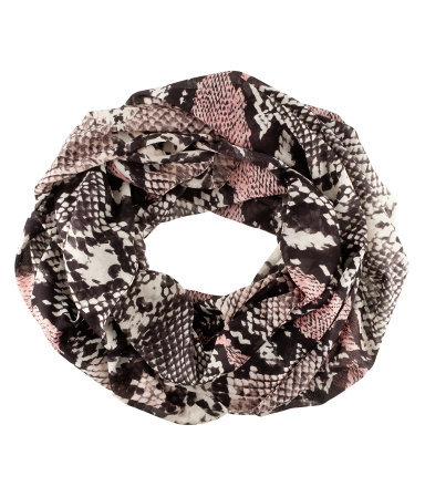 Tube Scarf - predominant colour: black; occasions: casual, work; type of pattern: standard; style: snood; size: standard; material: fabric; pattern: animal print, patterned/print; season: s/s 2013