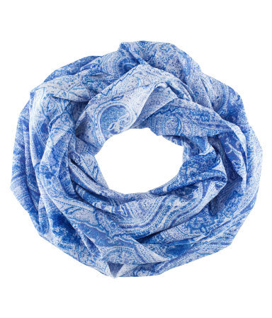 Tube Scarf - predominant colour: royal blue; occasions: casual, work; type of pattern: standard; style: snood; size: standard; material: fabric; pattern: paisley, patterned/print; season: s/s 2013