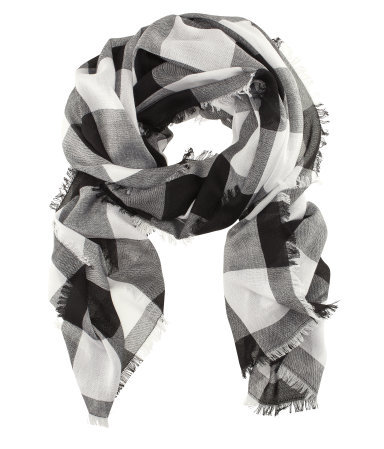 Scarf - predominant colour: black; occasions: casual; type of pattern: large; style: regular; size: standard; material: fabric; pattern: checked/gingham; season: s/s 2013