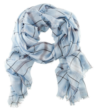 Scarf - predominant colour: pale blue; occasions: casual, work; type of pattern: standard; style: regular; size: standard; material: fabric; pattern: checked/gingham; season: s/s 2013