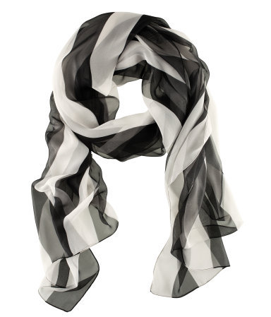 Scarf - predominant colour: black; occasions: casual, work; type of pattern: standard; style: regular; size: standard; material: fabric; pattern: vertical stripes, striped; trends: striking stripes; season: s/s 2013