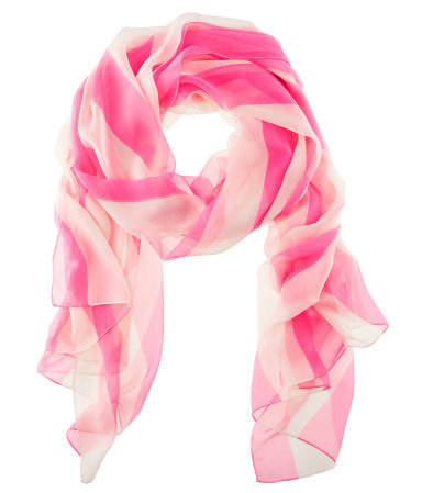 Scarf - predominant colour: hot pink; occasions: casual, work; type of pattern: standard; style: regular; size: standard; material: fabric; pattern: vertical stripes, striped; trends: striking stripes, fluorescent; season: s/s 2013