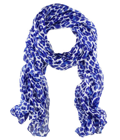 Scarf - predominant colour: royal blue; occasions: casual, work; type of pattern: standard; style: regular; size: standard; material: fabric; pattern: animal print; season: s/s 2013