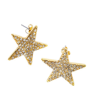 Earrings - predominant colour: gold; occasions: casual, evening, work, holiday; style: stud; length: short; size: small/fine; material: chain/metal; fastening: pierced; finish: metallic; embellishment: crystals/glass; season: s/s 2013