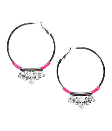 Earrings - predominant colour: charcoal; occasions: casual, evening, holiday; style: hoop; length: mid; size: standard; material: chain/metal; fastening: pierced; trends: fluorescent; finish: metallic; embellishment: crystals/glass; season: s/s 2013