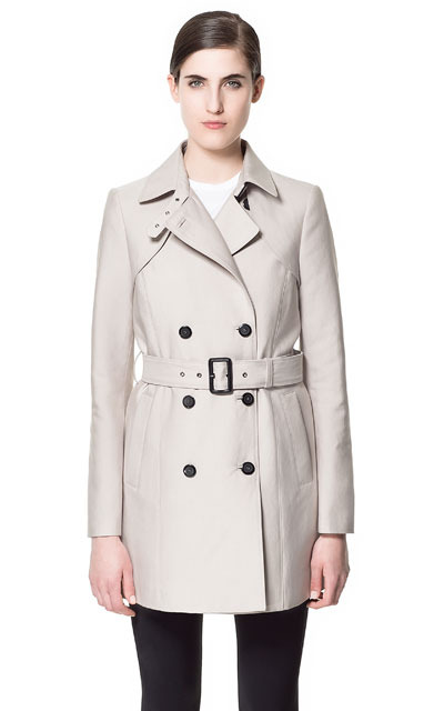 Belted Trench Coat - pattern: plain; style: trench coat; length: mid thigh; predominant colour: stone; occasions: casual, evening, work; fit: tailored/fitted; fibres: polyester/polyamide - mix; collar: shirt collar/peter pan/zip with opening; back detail: back vent/flap at back; sleeve length: long sleeve; sleeve style: standard; collar break: high/illusion of break when open; pattern type: fabric; texture group: other - light to midweight; season: s/s 2013; wardrobe: basic