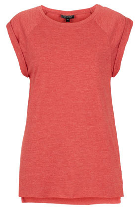High Roller Neppy Tank - neckline: round neck; sleeve style: raglan; pattern: plain; length: below the bottom; style: t-shirt; predominant colour: coral; occasions: casual, holiday; fibres: polyester/polyamide - mix; fit: body skimming; back detail: longer hem at back than at front; sleeve length: short sleeve; pattern type: fabric; pattern size: standard; texture group: jersey - stretchy/drapey; season: s/s 2013