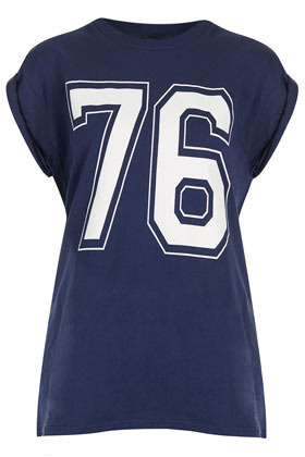 Number 76 Tee - sleeve style: capped; style: t-shirt; predominant colour: navy; occasions: casual, holiday; length: standard; fibres: cotton - 100%; fit: body skimming; neckline: crew; bust detail: contrast pattern/fabric/detail at bust; shoulder detail: flat/draping pleats/ruching/gathering at shoulder; sleeve length: short sleeve; pattern type: fabric; pattern size: light/subtle; pattern: patterned/print; texture group: jersey - stretchy/drapey; season: s/s 2013