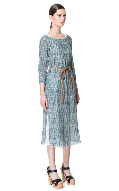 Long Printed Tunic - style: tunic; length: calf length; neckline: round neck; fit: loose; waist detail: belted waist/tie at waist/drawstring; predominant colour: pale blue; occasions: casual; fibres: polyester/polyamide - 100%; sleeve length: long sleeve; sleeve style: standard; texture group: sheer fabrics/chiffon/organza etc.; pattern type: fabric; pattern size: standard; pattern: patterned/print; season: s/s 2013