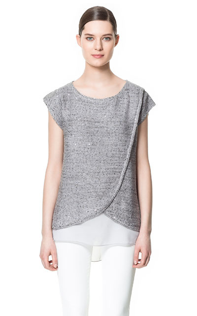 Crossover Top - neckline: round neck; sleeve style: capped; length: below the bottom; predominant colour: silver; occasions: casual, evening, work; style: top; fibres: polyester/polyamide - mix; fit: straight cut; back detail: longer hem at back than at front; sleeve length: short sleeve; texture group: knits/crochet; pattern type: fabric; pattern size: standard; pattern: patterned/print; embellishment: sequins; season: s/s 2013