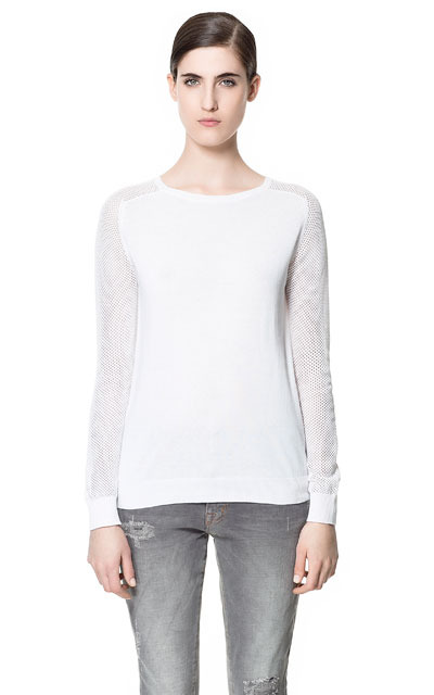 Sweater With Open Work Sleeves - neckline: round neck; pattern: plain; style: standard; shoulder detail: contrast pattern/fabric at shoulder; predominant colour: light grey; occasions: casual; length: standard; fibres: cotton - 100%; fit: standard fit; sleeve length: long sleeve; sleeve style: standard; texture group: knits/crochet; pattern type: knitted - other; pattern size: light/subtle; season: s/s 2013
