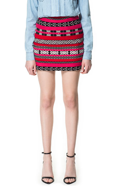 Ethnic Jacquard Mini Skirt - length: mini; fit: body skimming; waist detail: fitted waist; hip detail: draws attention to hips; waist: mid/regular rise; predominant colour: true red; occasions: casual, evening, work; style: mini skirt; fibres: polyester/polyamide - mix; trends: striking stripes, modern geometrics; pattern type: fabric; pattern: patterned/print; texture group: brocade/jacquard; season: s/s 2013; pattern size: big & busy (bottom)