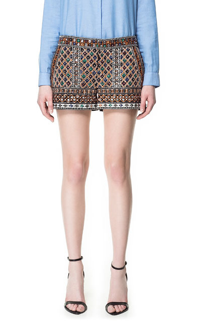 Embroidered Shorts With Stones - waist: mid/regular rise; predominant colour: chocolate brown; occasions: casual, evening, occasion; fibres: cotton - 100%; texture group: sheer fabrics/chiffon/organza etc.; pattern type: fabric; pattern: patterned/print; embellishment: embroidered; season: s/s 2013; pattern size: standard (bottom); style: shorts; length: short shorts; fit: slim leg; wardrobe: highlight; embellishment location: all over