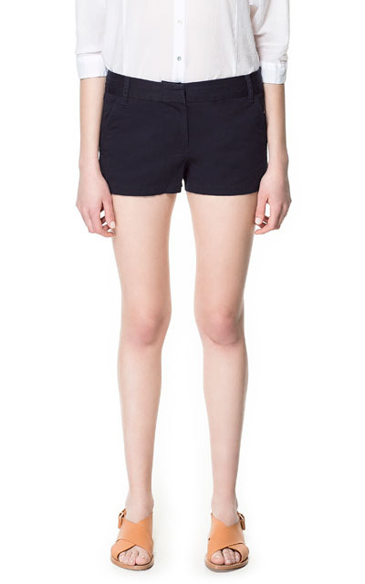 Coloured Twill Bermudas - pattern: plain; waist: mid/regular rise; predominant colour: navy; occasions: casual, holiday; fibres: cotton - 100%; hip detail: fitted at hip (bottoms); texture group: sheer fabrics/chiffon/organza etc.; pattern type: fabric; season: s/s 2013; pattern size: standard (bottom); style: shorts; length: short shorts; fit: slim leg