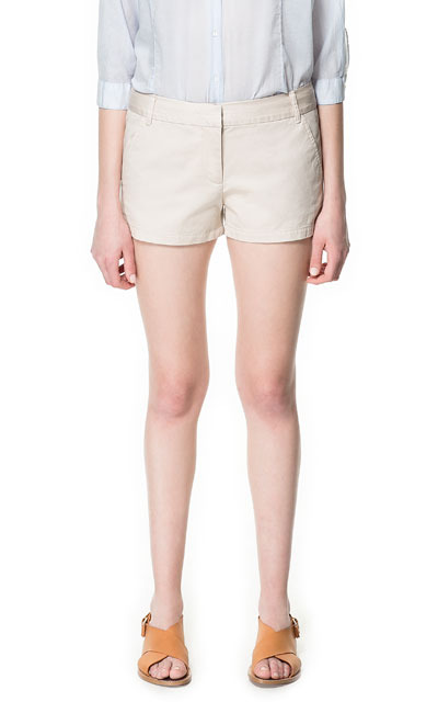 Coloured Twill Bermudas - pattern: plain; waist: mid/regular rise; predominant colour: stone; occasions: casual, holiday; fibres: cotton - 100%; hip detail: fitted at hip (bottoms); waist detail: narrow waistband; texture group: cotton feel fabrics; pattern type: fabric; season: s/s 2013; pattern size: standard (bottom); style: shorts; length: mid thigh shorts; fit: slim leg