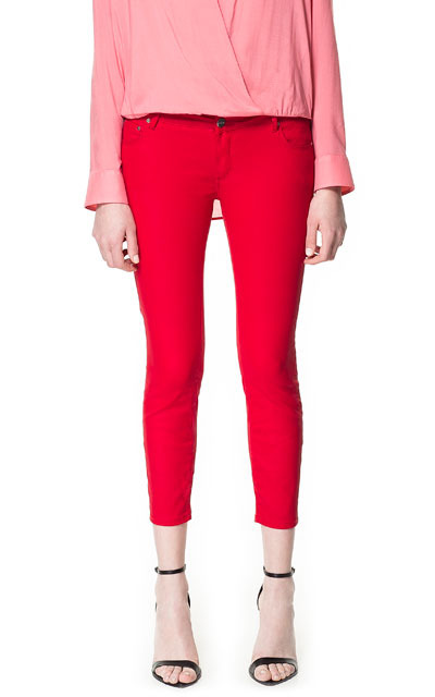 Coated Trousers - pattern: plain; pocket detail: traditional 5 pocket; waist: mid/regular rise; predominant colour: true red; occasions: casual, evening, work, holiday; length: calf length; fibres: cotton - stretch; hip detail: fitted at hip (bottoms); texture group: cotton feel fabrics; fit: skinny/tight leg; pattern type: fabric; style: standard; season: s/s 2013; pattern size: standard (bottom)