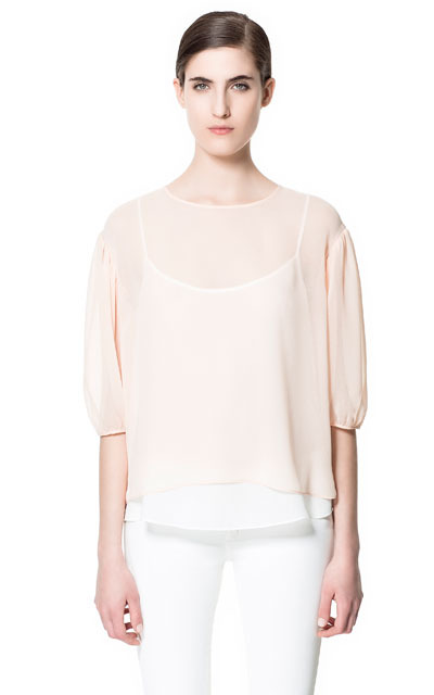 Blouse With Balloon Sleeve - pattern: plain; sleeve style: balloon; style: blouse; predominant colour: nude; occasions: casual, evening, work; length: standard; fibres: polyester/polyamide - 100%; fit: loose; neckline: crew; back detail: longer hem at back than at front; sleeve length: 3/4 length; texture group: sheer fabrics/chiffon/organza etc.; pattern type: fabric; pattern size: standard; season: s/s 2013