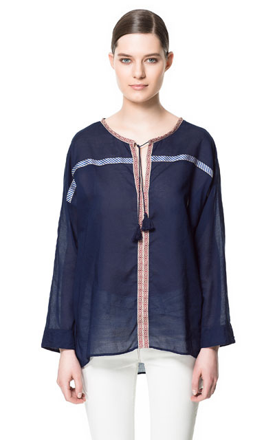 Indian Inspired Blouse - neckline: round neck; pattern: plain; bust detail: added detail/embellishment at bust; style: blouse; predominant colour: navy; occasions: casual, holiday; length: standard; fibres: cotton - 100%; fit: loose; back detail: longer hem at back than at front; sleeve length: long sleeve; sleeve style: standard; texture group: sheer fabrics/chiffon/organza etc.; pattern type: fabric; embellishment: embroidered; season: s/s 2013