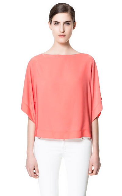 Batwing Top - neckline: slash/boat neckline; sleeve style: dolman/batwing; pattern: plain; predominant colour: coral; occasions: casual, evening; length: standard; style: top; fibres: polyester/polyamide - 100%; fit: loose; sleeve length: 3/4 length; texture group: sheer fabrics/chiffon/organza etc.; pattern type: fabric; pattern size: standard; season: s/s 2013