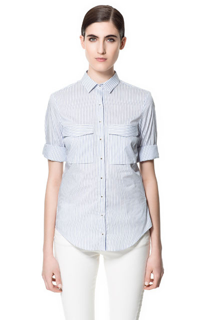 Striped Shirt - neckline: shirt collar/peter pan/zip with opening; pattern: vertical stripes; style: shirt; bust detail: pocket detail at bust; predominant colour: pale blue; occasions: casual, work, holiday; length: standard; fibres: cotton - mix; fit: tailored/fitted; sleeve length: short sleeve; sleeve style: standard; pattern type: fabric; pattern size: standard; texture group: jersey - stretchy/drapey; season: s/s 2013