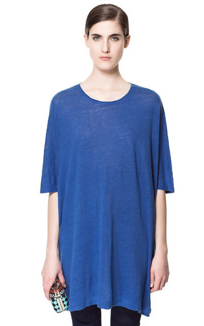 Special Oversize Linen T Shirt - neckline: round neck; pattern: plain; style: t-shirt; predominant colour: royal blue; occasions: casual, evening, work, holiday; fibres: linen - 100%; fit: loose; length: mid thigh; sleeve length: half sleeve; sleeve style: standard; trends: volume; pattern type: fabric; texture group: jersey - stretchy/drapey; season: s/s 2013