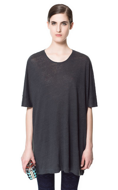 Special Oversize Linen T Shirt - neckline: round neck; pattern: plain; style: t-shirt; predominant colour: charcoal; occasions: casual, work, holiday; fibres: linen - 100%; fit: loose; length: mid thigh; sleeve length: long sleeve; sleeve style: standard; trends: volume; pattern type: fabric; texture group: jersey - stretchy/drapey; season: s/s 2013