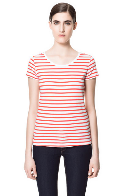 Basic Striped T Shirt - neckline: round neck; pattern: horizontal stripes; style: t-shirt; predominant colour: white; occasions: casual, holiday; length: standard; fibres: cotton - mix; fit: loose; sleeve length: short sleeve; sleeve style: standard; pattern type: fabric; pattern size: standard; texture group: jersey - stretchy/drapey; season: s/s 2013