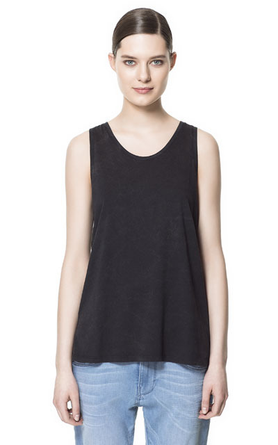 Acid Wash Tank Top - pattern: plain; sleeve style: sleeveless; style: vest top; predominant colour: black; occasions: casual, holiday; length: standard; neckline: scoop; fibres: cotton - 100%; fit: loose; back detail: longer hem at back than at front; sleeve length: sleeveless; pattern type: fabric; pattern size: standard; texture group: jersey - stretchy/drapey; season: s/s 2013