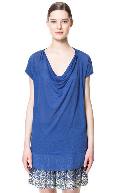 Draped Linen T Shirt - neckline: cowl/draped neck; pattern: plain; length: below the bottom; style: t-shirt; predominant colour: royal blue; occasions: casual, work, holiday; fibres: linen - 100%; fit: loose; hip detail: contrast fabric/print detail at hip; sleeve length: short sleeve; sleeve style: standard; texture group: linen; pattern type: fabric; pattern size: standard; season: s/s 2013
