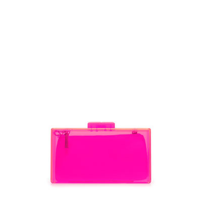 Neon Box Clutch - predominant colour: hot pink; occasions: evening, occasion, holiday; style: clutch; length: hand carry; size: small; material: plastic/rubber; embellishment: zips; pattern: plain; trends: fluorescent; finish: fluorescent; season: s/s 2013