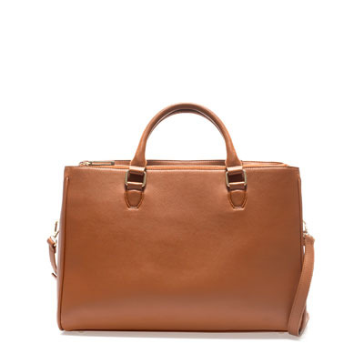 Office City Bag - predominant colour: tan; occasions: casual, work; type of pattern: standard; style: tote; length: handle; size: standard; material: faux leather; pattern: plain; finish: plain; season: s/s 2013