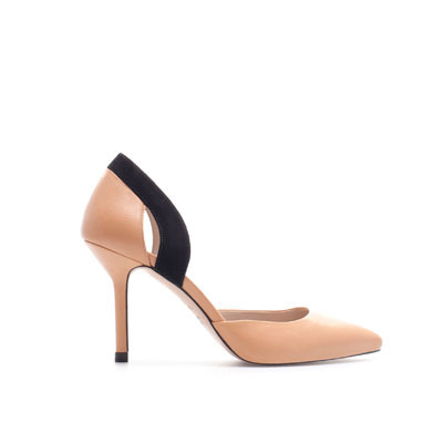 Mid Heel Pointed Pumps - predominant colour: nude; occasions: evening, work, occasion; material: leather; heel height: high; heel: stiletto; toe: pointed toe; style: courts; finish: plain; pattern: colourblock; season: s/s 2013