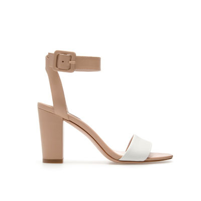 Mid Heel Sandals - predominant colour: camel; occasions: evening, occasion; material: faux leather; heel height: high; embellishment: buckles; ankle detail: ankle strap; heel: block; toe: open toe/peeptoe; style: standard; finish: plain; pattern: colourblock; season: s/s 2013