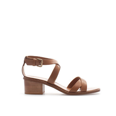 Block Heel Strappy Sandal - predominant colour: tan; occasions: casual; material: leather; heel height: mid; embellishment: buckles; ankle detail: ankle strap; heel: block; toe: open toe/peeptoe; style: strappy; finish: plain; pattern: plain; season: s/s 2013