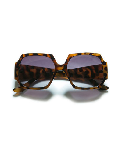 Hexagonal Sunglasses - predominant colour: tan; occasions: casual, holiday; style: square; size: large; material: plastic/rubber; pattern: tortoiseshell; finish: plain; season: s/s 2013