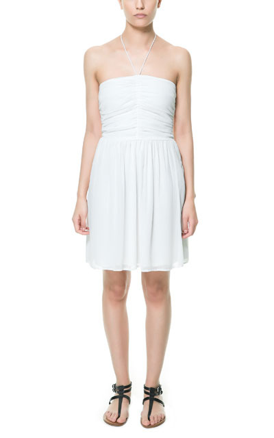 Dress With Draped Top - pattern: plain; sleeve style: sleeveless; style: sundress; waist detail: fitted waist; neckline: low halter neck; bust detail: subtle bust detail; predominant colour: white; occasions: casual, evening, occasion, holiday; length: just above the knee; fit: fitted at waist & bust; fibres: polyester/polyamide - 100%; hip detail: subtle/flattering hip detail; sleeve length: sleeveless; pattern type: fabric; texture group: jersey - stretchy/drapey; season: s/s 2013