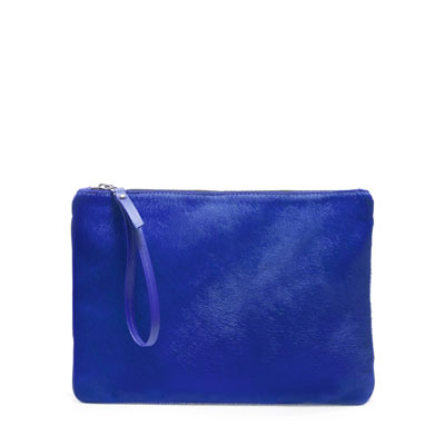 Block Color Clutch Bag - predominant colour: royal blue; occasions: casual, evening, occasion, holiday; type of pattern: standard; style: grab bag; length: hand carry; size: standard; material: leather; embellishment: zips; pattern: plain; finish: plain; season: s/s 2013