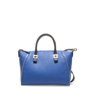 Structured Combination Bowling Bag - predominant colour: royal blue; occasions: casual, work, holiday; type of pattern: light; style: bowling; length: handle; size: standard; material: faux leather; embellishment: zips; pattern: plain; finish: plain; season: s/s 2013