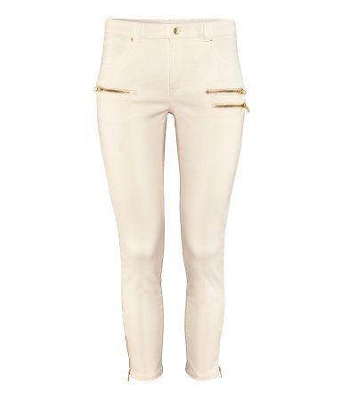Ankle Lengthtrousers - pattern: plain; style: leggings; waist: mid/regular rise; predominant colour: ivory/cream; occasions: casual, evening, holiday; length: ankle length; fibres: cotton - stretch; hip detail: added detail/embellishment at hip; fit: skinny/tight leg; pattern type: fabric; texture group: woven light midweight; season: s/s 2013; pattern size: standard (bottom)