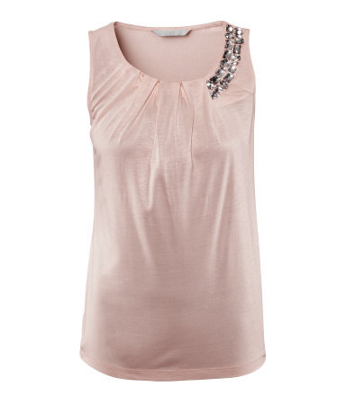 Top - neckline: round neck; pattern: plain; sleeve style: sleeveless; predominant colour: blush; occasions: casual, evening, occasion; length: standard; style: top; fibres: viscose/rayon - 100%; fit: straight cut; shoulder detail: added shoulder detail; sleeve length: sleeveless; bust detail: tiers/frills/bulky drapes/pleats; pattern type: fabric; pattern size: standard; texture group: jersey - stretchy/drapey; embellishment: jewels/stone; season: s/s 2013