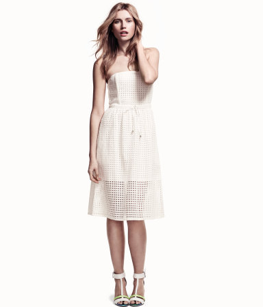 Dress - length: below the knee; neckline: strapless (straight/sweetheart); pattern: plain; sleeve style: strapless; style: sundress; waist detail: belted waist/tie at waist/drawstring; bust detail: subtle bust detail; predominant colour: ivory/cream; occasions: casual, occasion, holiday; fit: straight cut; fibres: cotton - 100%; sleeve length: sleeveless; texture group: structured shiny - satin/tafetta/silk etc.; hip detail: ruffles/tiers/tie detail at hip; pattern type: fabric; pattern size: light/subtle; season: s/s 2013