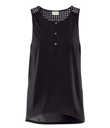 Top - neckline: round neck; pattern: plain; sleeve style: sleeveless; shoulder detail: contrast pattern/fabric at shoulder; bust detail: buttons at bust (in middle at breastbone)/zip detail at bust; predominant colour: black; occasions: casual, holiday; length: standard; style: top; fibres: polyester/polyamide - 100%; fit: loose; back detail: longer hem at back than at front; sleeve length: sleeveless; pattern type: fabric; pattern size: standard; texture group: jersey - stretchy/drapey; season: s/s 2013