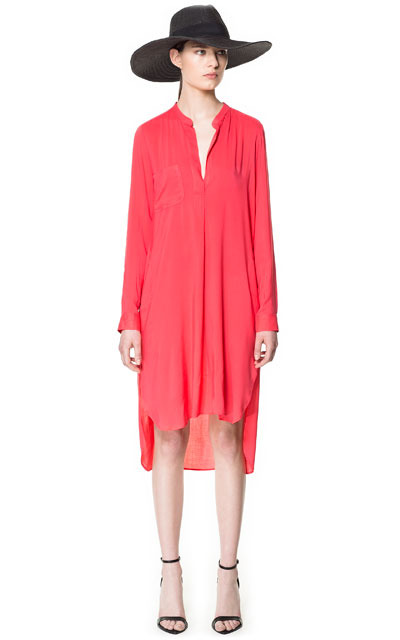 Long Asymmetric Tunic - style: tunic; fit: loose; pattern: plain; predominant colour: coral; occasions: casual, evening, holiday; length: just above the knee; neckline: collarstand & mandarin with v-neck; fibres: viscose/rayon - 100%; back detail: longer hem at back than at front; sleeve length: long sleeve; sleeve style: standard; pattern type: fabric; pattern size: standard; texture group: jersey - stretchy/drapey; season: s/s 2013
