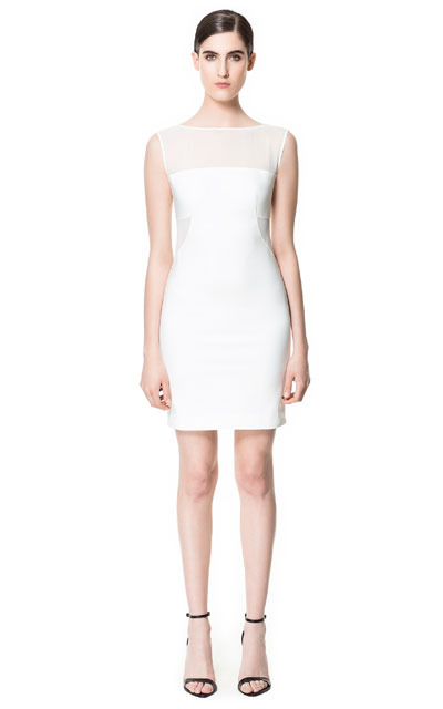 Dress With Transparent Sections - style: shift; neckline: slash/boat neckline; fit: tight; pattern: plain; sleeve style: sleeveless; hip detail: fitted at hip; shoulder detail: contrast pattern/fabric at shoulder; predominant colour: ivory/cream; occasions: evening, occasion; length: just above the knee; fibres: polyester/polyamide - mix; waist detail: cut out detail; back detail: sheer fabric at back; sleeve length: sleeveless; texture group: sheer fabrics/chiffon/organza etc.; pattern type: fabric; pattern size: standard; season: s/s 2013