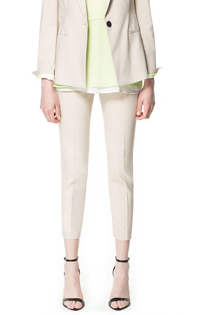 Ankle Cropped Trousers - pattern: plain; waist: mid/regular rise; predominant colour: stone; occasions: casual, evening, work, occasion, holiday; length: ankle length; fibres: cotton - mix; fit: slim leg; pattern type: fabric; texture group: other - light to midweight; style: standard; season: s/s 2013; pattern size: standard (bottom)
