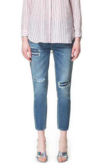 Relaxed Fit Jeans - pattern: plain; pocket detail: traditional 5 pocket; style: slim leg; waist: mid/regular rise; predominant colour: denim; occasions: casual, holiday; length: ankle length; fibres: cotton - stretch; jeans detail: shading down centre of thigh, washed/faded; texture group: denim; pattern type: fabric; season: s/s 2013; pattern size: standard (bottom)
