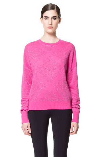 Brocade Pattern Jacquard Sweater - pattern: plain; style: standard; predominant colour: hot pink; occasions: casual, work; length: standard; fibres: linen - mix; fit: standard fit; neckline: crew; sleeve length: long sleeve; sleeve style: standard; texture group: knits/crochet; pattern type: knitted - fine stitch; pattern size: light/subtle; season: s/s 2013