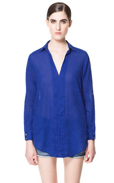 V Neck Blouse - pattern: plain; length: below the bottom; style: blouse; predominant colour: royal blue; occasions: casual, work, holiday; neckline: collarstand & mandarin with v-neck; fibres: cotton - mix; fit: loose; sleeve length: long sleeve; sleeve style: standard; texture group: cotton feel fabrics; pattern type: fabric; pattern size: standard; season: s/s 2013